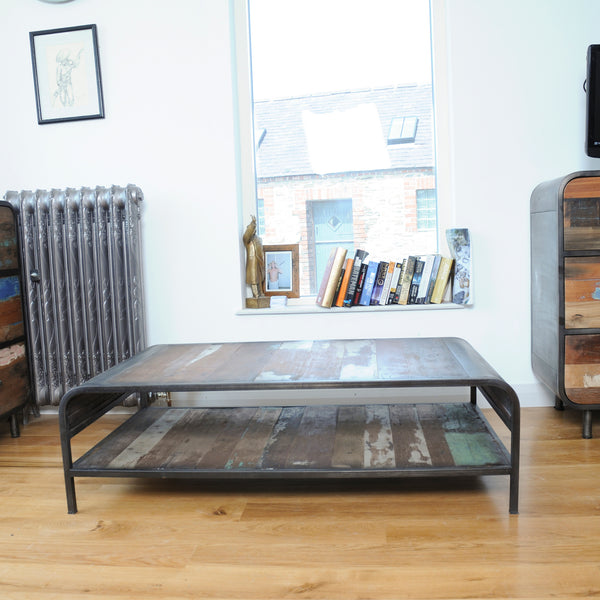 Nordic Reclaimed Retro Coffee Table with Shelf by Harley & Lola