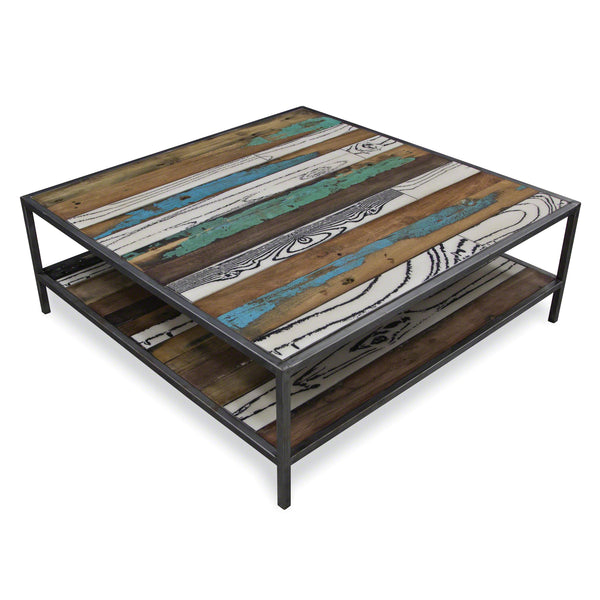 Nordic Reclaimed Evolve Rectangular Coffee Table w shelf by Harley & Lola