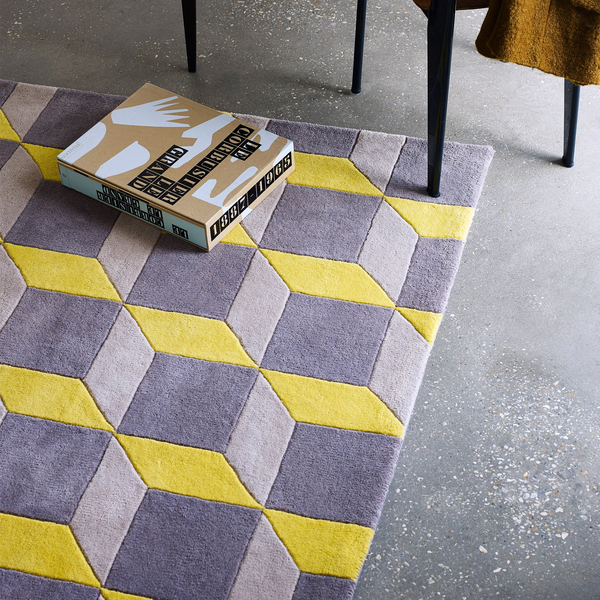Plantation Rug Co. Geometric Cube Grey and Yellow by Harley & Lola