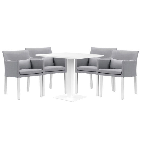 Cozy Bay Verona Aluminium & Fabric 4 Seater Dining Set by Harley & Lola