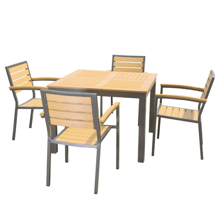 Cozy Bay® Syn-Teak™ 4 Seater Dining Set with Large Square Table in Teak Asian