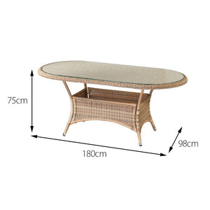 Cozy Bay® Panama Rattan 6 Seater Oval Dining Table in 4 Seasons