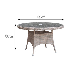 Cozy Bay® Eden Rattan 6 Seater Dining Table in Chic Walnut with Granite Effect Glass