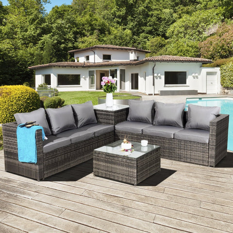 Oseasons® Malta Rattan 6 Seater Corner Set in Grey