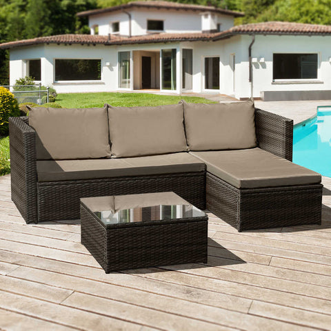 Oseasons® Corfu Rattan 3 Seater Chaise Lounge Set in Brown