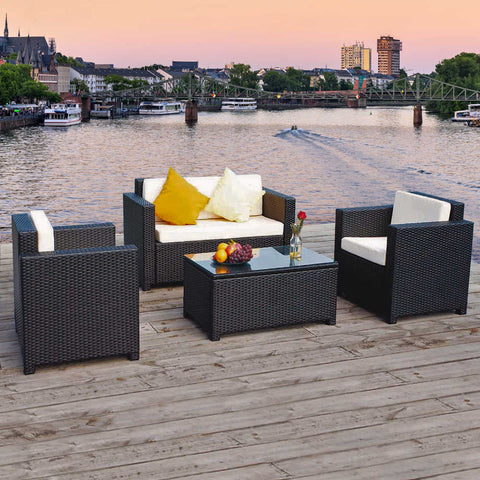 Oseasons® Oxford Rattan 4 Seater Lounge Set in Black