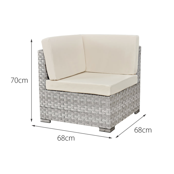Oseasons® Trinidad Rattan 4 Seater Modular Chaise Lounge Set in Dove Grey