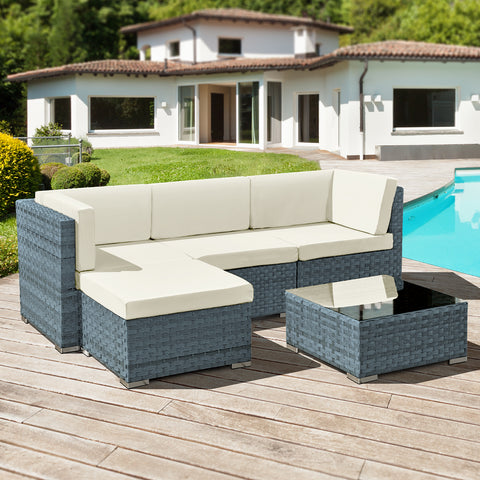 Oseasons® Trinidad Rattan 4 Seater Modular Chaise Lounge Set in Ocean Grey