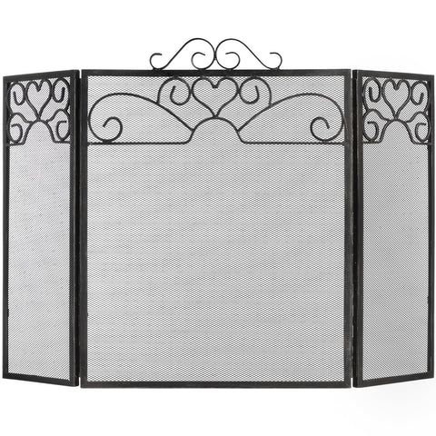 Heart Motif Black Brushed Steel Fire Screen - 25 Inch