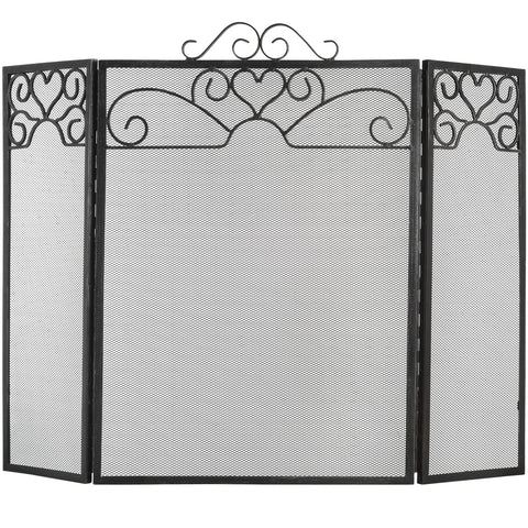 Heart Motif Black Brushed Steel Fire Screen - 28 Inch