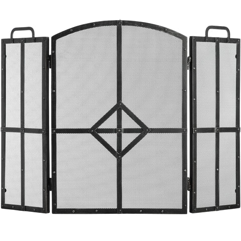 Classic Black Brushed Steel Fire Screen - - Fireplace by WDS4U available from Harley & Lola - 1