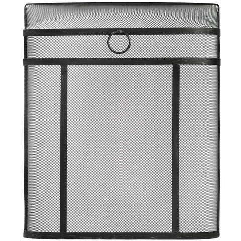 Contemporary Black Brushed Steel Mesh Fire Guard