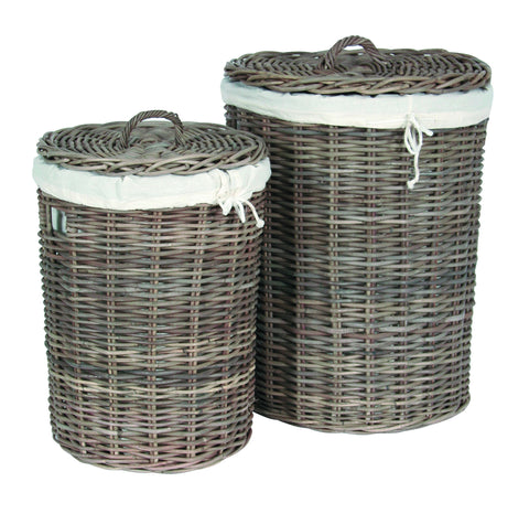 Pacific Lifestyle Grey Kubu Round Lined Linen Baskets