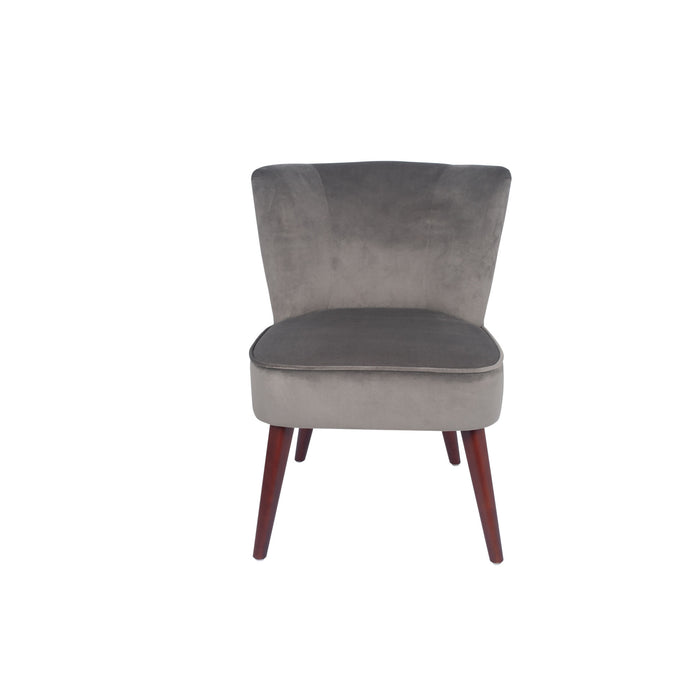 Pacific Lifestyle Velvet Retro Cocktail Chair with Walnut Effect Legs