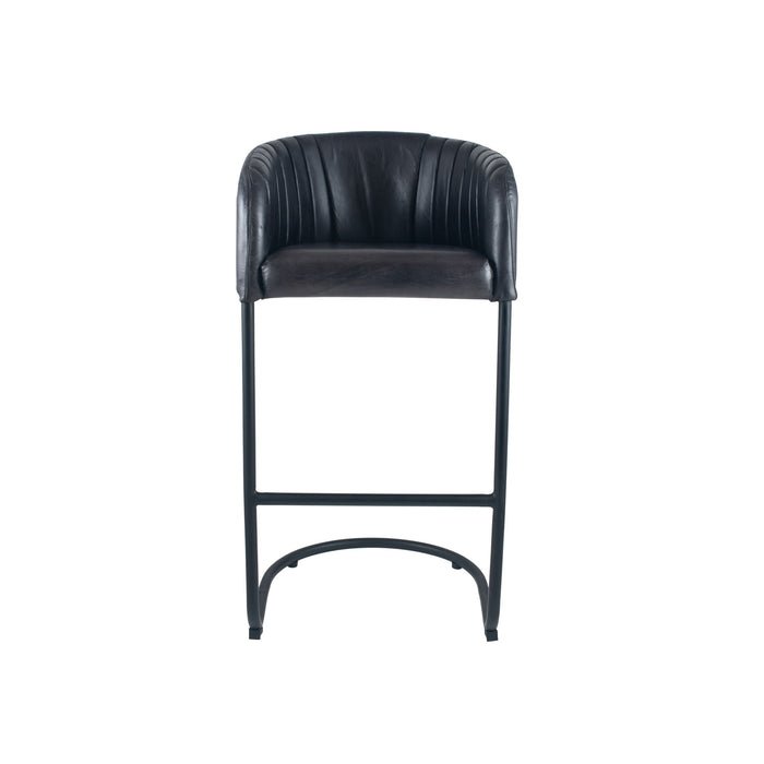 Pacific Lifestyle Leather & Iron Curved Back Bar Stool