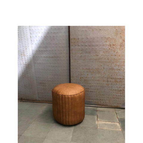 Pacific Lifestyle Leather Cylinder Pouffe