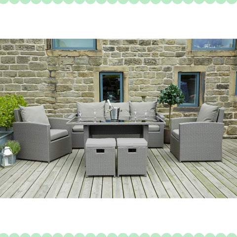 Mixed Grey Flat Weave Cayman Relaxed Dining Set by Harley & Lola