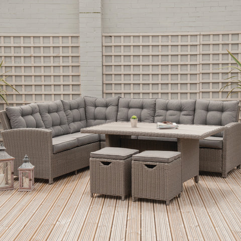 Pacific Lifestyle Slate Grey Barbados Relaxed Dining Corner Set