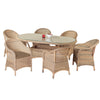 Cozy Bay® Sicilia Rattan 6 Seater Oval Dining Set in 4 Seasons
