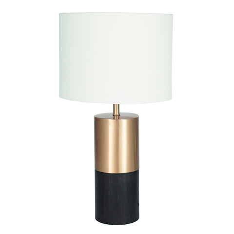 Round Wood & Metal Table Lamp -Round Wood & Metal Table Lamp with White Handloom Shade - Lamps by Pacific available from Harley & Lola
