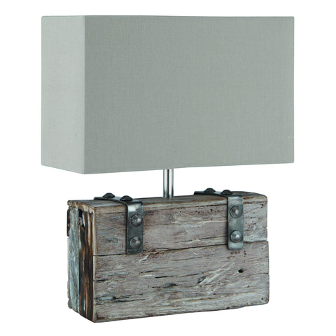 Rectangle Wood and Metal Table Lamp -Rectangle Braced Wood/Metal & Heavy Cotton Table Lamp - Lamps by Pacific available from Harley & Lola
