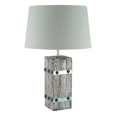 Round Wood and Metal Table Lamp -Round Braced Wood/Metal & Heavy Cotton Table Lamp - Lamps by Pacific available from Harley & Lola