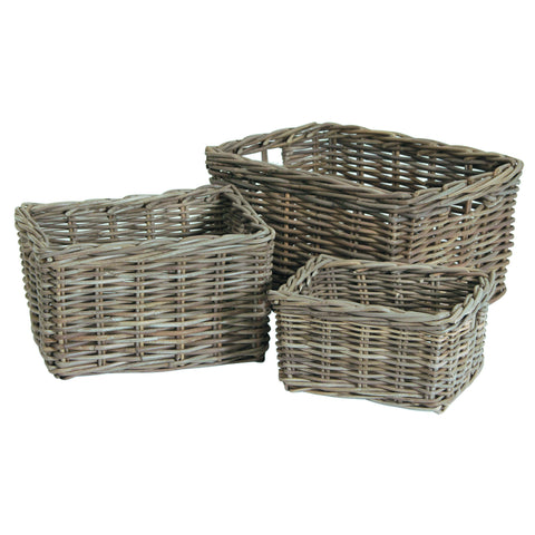 Grey Kubu Three Oblong Baskets -Grey Kubu S/3 Oblong Storage - Storage by Pacific available from Harley & Lola