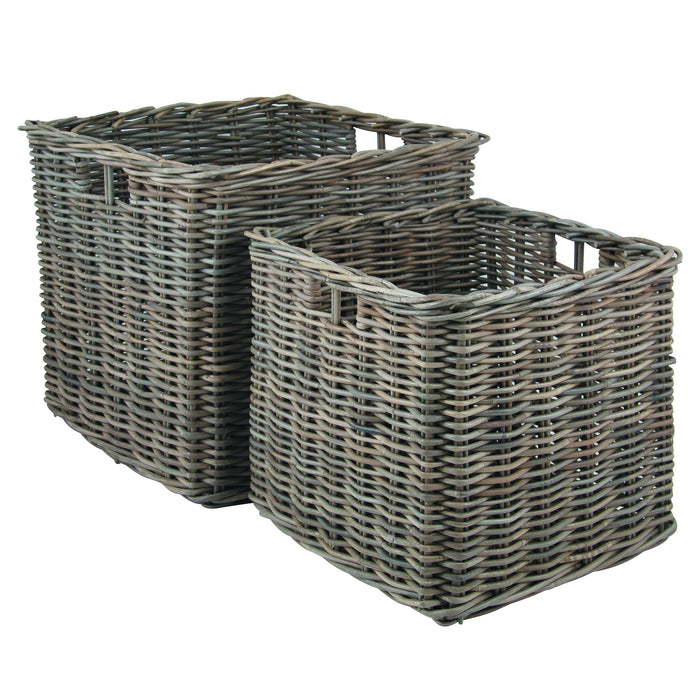 Grey Kubu Large Square Baskets -Grey Kubu S/2 Large Square Storage - Storage by Pacific available from Harley & Lola