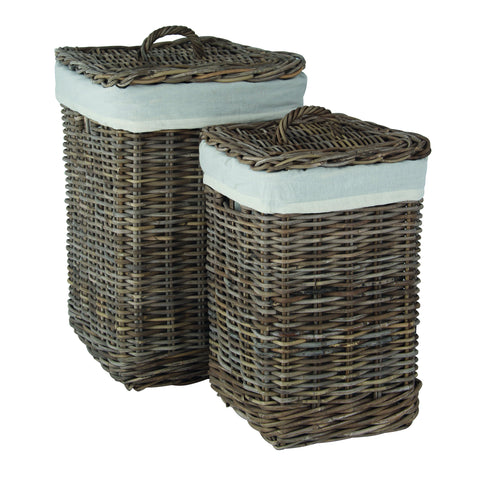 Grey Kubu Set of Square Linen Baskets -Grey Kubu S/2 Square Lined Linens - Storage by Pacific available from Harley & Lola