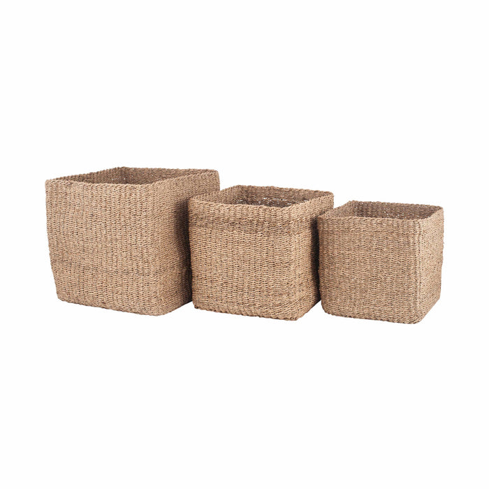 Pacific Lifestyle Set of 3 Woven Natural Seagrass Cube Baskets