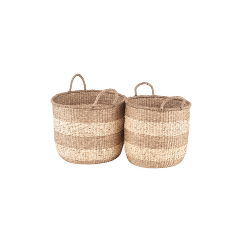 Pacific Lifestyle Set of 2 Woven 2-Tone Natural Seagrass Handled Baskets