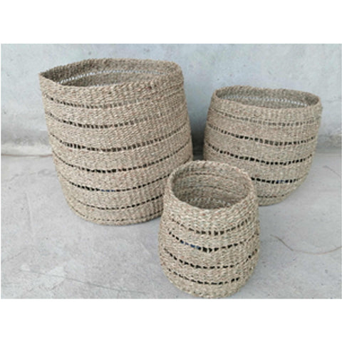 Pacific Lifestyle  Woven Natural Seagrass Set of 3 Round Baskets