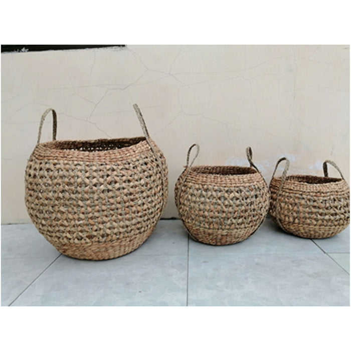 Pacific Lifestyle Woven Water Hyacinth Set of 3 Handled Round Baskets