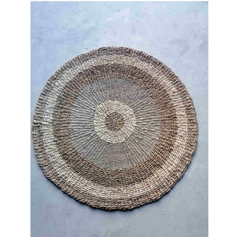 Pacific Lifestyle Woven 2 Tone Seagrass and Corn Husk Leaf Round Rug