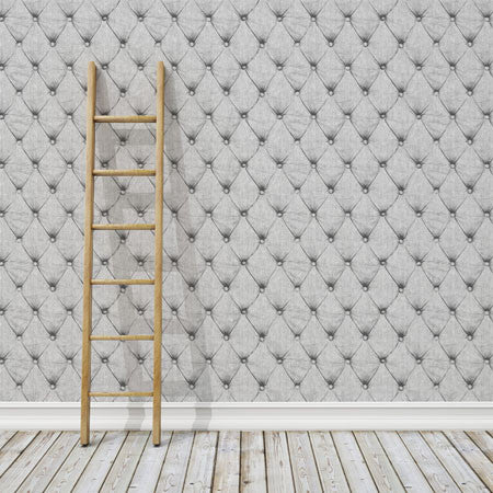 Denim Chesterfield - Grey/White Wallpaper