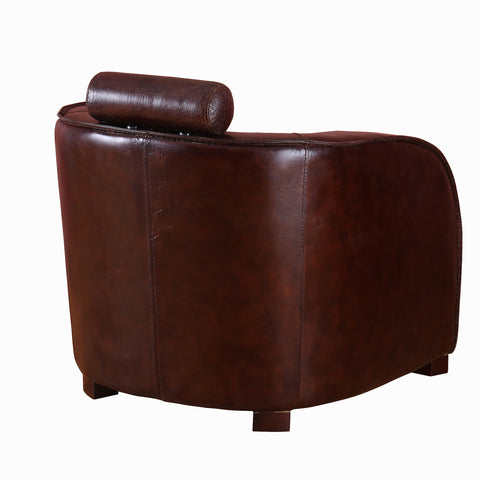 Explorer Leather Tub Chair with Headrest