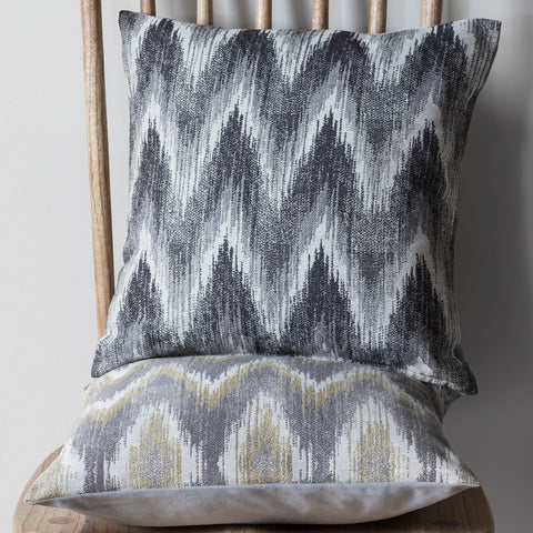 Cozy Zig Zag Cushion -Chartreuse & Grey - Soft Furnishings by Gallery available from Harley & Lola