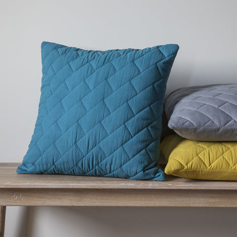 Lola Quilted Cushion -Teal - Soft Furnishings by Gallery available from Harley & Lola - 1