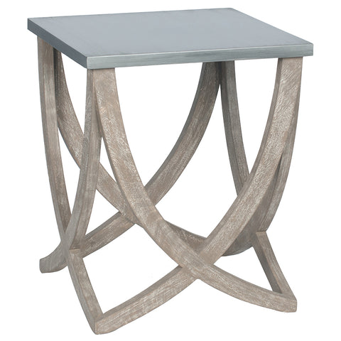 Pacific Lifestyle Jatani Distressed Rock & Brushed Mango Wood Side Table