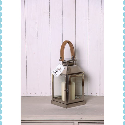 Leather Handle Hurricane Lantern -Small - Garden & Conservatory by Petti Rossi available from Harley & Lola - 1