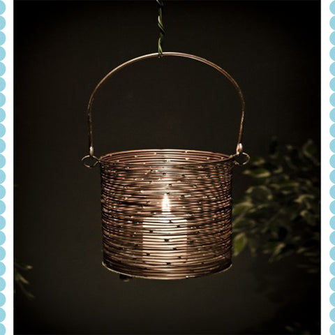 Antique Copper Round Basket Lantern