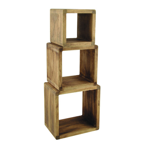 Natural Paulownia Wood S/3 Cubes