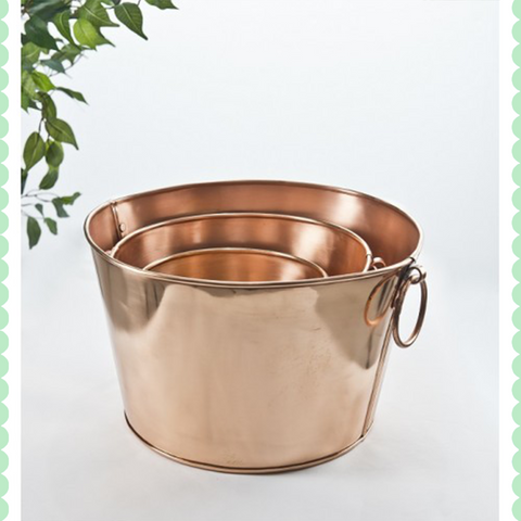 Set of 3 Copper Tubs