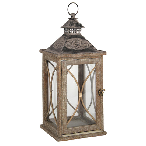 Pacific Lifestyle Large Natural Wood and Glass Lantern