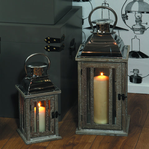Natural Wood Lanterns -Grey Fir Wood, Stainless Steel & Glass S/2 Lanterns - Home Wares by Pacific available from Harley & Lola