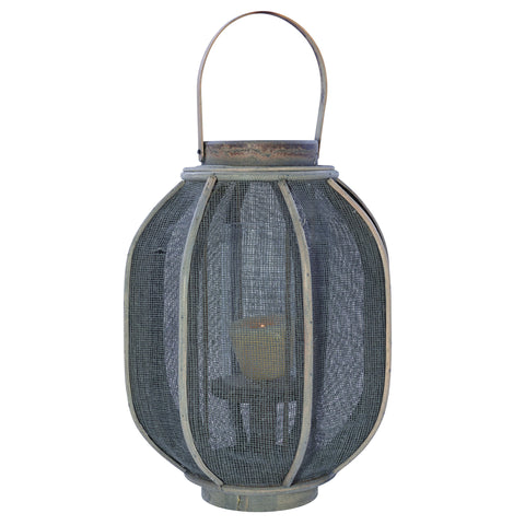 Antique Grey Rattan & Linen Lantern