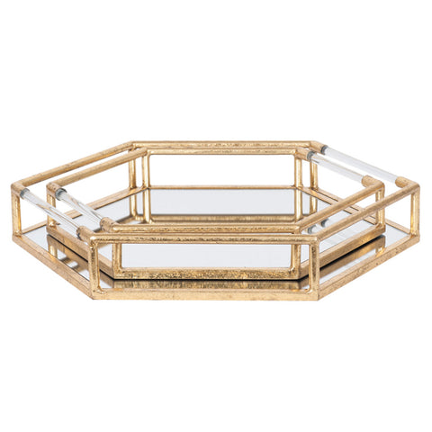 Pacific Lifestyle Gold Metal & Mirror Set of 2 Trays