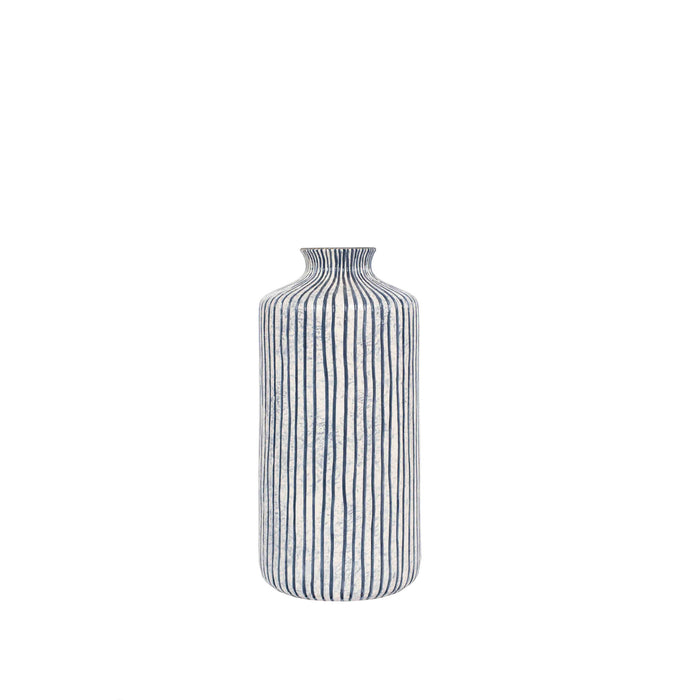 Pacific Lifestyle Blue and White Stripe Stoneware Vase