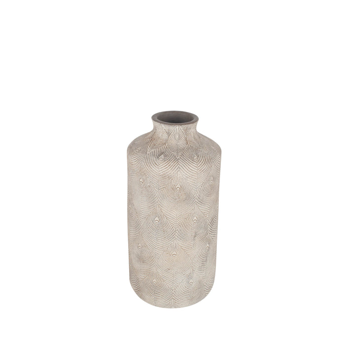 Pacific Lifestyle Matt Grey Feather Stoneware Vase