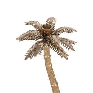 Pacific Lifestyle Gold Metal Palm Tree Large Candlestick